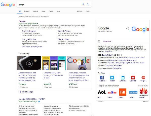 Exemple de recherche universelle dans Google